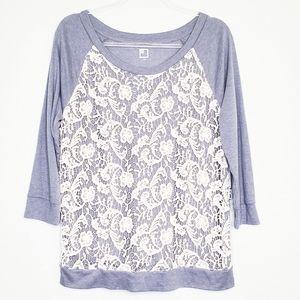 NWT JCP | Crochet Front Grey Sweatshirt Top